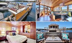 Dubbed 'the most beautiful man cave you'll ever see' by Zillow, the $950,000 Seattle, Washington, floating abode is styled to the nines on all 1,100 square feet of the property.