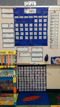 school classroom setup:From my calendar set. available in English and in Spanish versions. Bilingual Classroom, Bilingual Education, First Grade Classroom, Autism Classroom, 1st Grade Math, Kindergarten Classroom, School Classroom, Teaching Math, Elementary Teacher