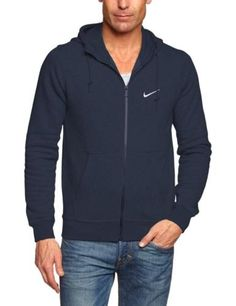 07615e18 Nike Men's Club Swoosh Full Zip Fleece Hoodie 611456 Regular L Navy for  sale online | eBay