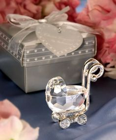 Gentle Crystal Baby Carriage Cart Baby Shower Favors Birthday Party Gathering Favor Boy Girl Gift Souvenir With Silver Gift Box Packing Festive & Party Supplies Party Favors