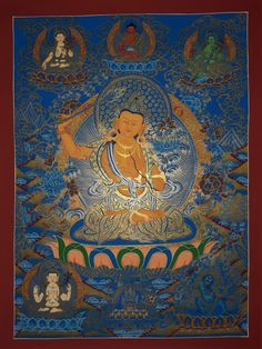 Manjusri Hand Painted Tibetan Canvas Cotton Thangka From Nepal 70/54cm Big Lake, Blue Flames, Tibet, Deities, Buddhism, Consciousness, Nepal, Worship, Printing On Fabric