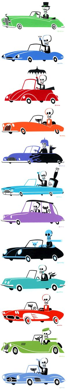 """Shag's Goin' Places"" Art Exhibit at The Rotofugi in Chicago  Shag skeletons driving cars ~ Mid Century Modern Art  Halloween"