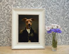 Red Dog dressed as Nelson Framed Pet Portrait by YourPetInUniform  Unique gifts for dog owners, especially those who are history fans or Nelson admirers
