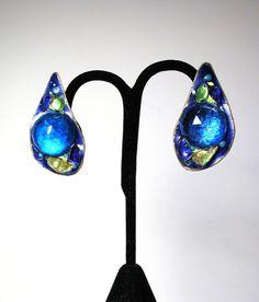 60s Blue Glass Earrings Ruth Buol Copper Enamel by MorningGlorious