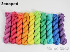 The highest quality hand-dyed, just for you. Hand Dyed Yarn, Gradient Color, Color Combos, Spinning, March, Rainbow, Craft Ideas, Wool, Projects