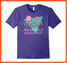 Mens 80s Style Indianapolis Gym Exercise Workout Colorful T Shirt 3XL Purple - Workout shirts (*Partner-Link)