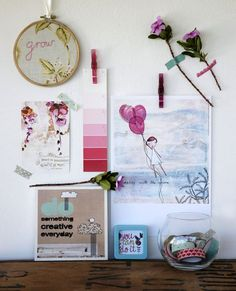 Pink & Turquoise wall art - such lovely playful and whimsical stuff to surround your work space. @lanaloustyle