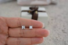 Square Stud Earrings. Square Basket High Quality Cz Studs. Sterling Silver 5mm Studs. Nickel Free Stud Earrings. by Jadorelli on Etsy