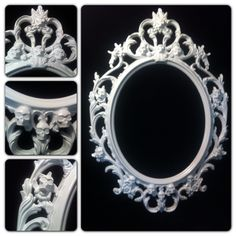 Gloss White Skull  Oval  Picture Frame Mirror  Shabby by kyoob, $125.00