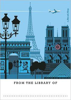 ***Mac and Ninny Paper Co. bookplate of Paris, France Paris Pics, Paris Pictures, Building Illustration, Travel Illustration, Paris Travel, France Travel, Paris Buildings, Building Silhouette, Art Deco Posters