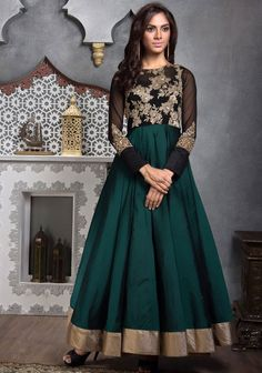 Plush Pine Green and Black Anarkali Suit