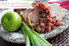 i should be mopping the floor: Apple-Cranberry Relish over Bacon Wrapped Pork Tenderloin {in the slow cooker}. I made the relish recipe). Did not make loin in Crockpot. Bacon Wrapped Pork Tenderloin, Slow Cooker Pork Tenderloin, Cranberry Relish, Cranberry Recipes, Crockpot Meat, Crockpot Recipes, Cooker Recipes, Slow Cooker Apples, Beef Recipes For Dinner