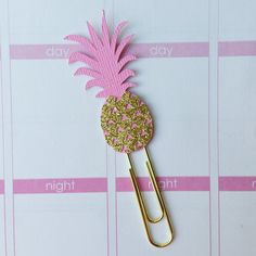 Glitter Pineapple Planner Clip / Paper Clip / by CuteByDesignCo