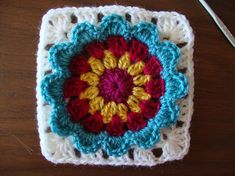 Crocheted Block with a 3D Granny Flower ~ Pattern Available