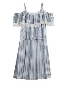 Rare Editions Big Girls Cold Shoulder Casual Dress Blue 8 ** Read more reviews of the product by visiting the link on the image.(It is Amazon affiliate link) #shoutouts