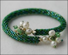 Green and Pearls Memory Wire Bracelet