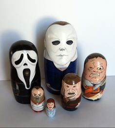 Custom order of Horror Movie villians, only Jason Voorhees left to finish!  Visit my shop at www.etsy.com/shop/thenestingpage