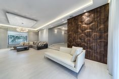 multi-layer wall covering of real wooden veneers. multi-layer w Luxury Interior Design, Interior Design Inspiration, Interior Decorating, Wall Panel Design, 3d Wall Panels, Creative Architecture, Architecture Design, Wall Cladding Designs, 3d Wall Decor
