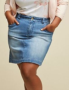 8f8ba45d634 A-Line Denim Skirt by GLAMOUR X LANE BRYANT