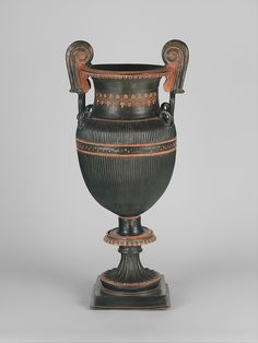 Pair of terracotta volute-kraters (vases for mixing wine and water) with stands, Terracotta, Greek, South Italian, Apulian Greek Pottery, Pottery Art, Ancient Rome, Ancient Greece, Greek Artifacts, Water Artists, Classical Period, Roman Art, Bronze