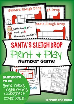 Most Popular Teaching Resources: Christmas Math Game {Subtraction with Ten Frame}