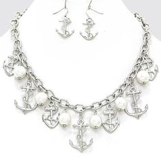 Nautical Drop Anchor Pearl Charm Rhodium Silver Tone Necklace and Earring Necklace. Get the lowest price on Nautical Drop Anchor Pearl Charm Rhodium Silver Tone Necklace and Earring Necklace and other fabulous designer clothing and accessories! Shop Tradesy now