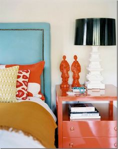 Get inspired by Eclectic Bedroom Design photo by Burnham Design. Wayfair lets you find the designer products in the photo and get ideas from thousands of other Eclectic Bedroom Design photos. Turquoise Headboard, Blue Headboard, Headboard Ideas, Studded Headboard, Headboard Shapes, Sweet Home, Bedroom Orange, Coral Bedroom, Bedroom Colors