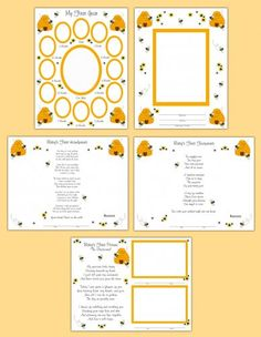 Bumble Bee Premade Scrapbook Pages or Wall Art Prints #decampstudios