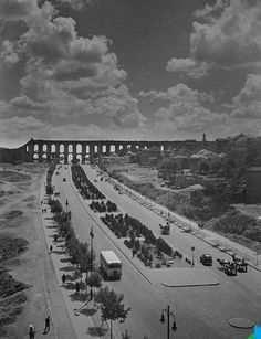 """Atatürk bulvarı, Bozdoğan kemeri 1958 . """"The Valens #Aqueduct (Bozdoğan )was completed in the year 368 AD during the reign of #Roman Emperor Valens, whose name it bears. The water system eventually reached over 250 kilometers (155 miles) in total length, the longest such system of Antiquity. The Valens Aqueduct was still the major water-providing system of medieval #Constantinople. The surviving section is 921 meters (3021 feet) long."""" #Istanbul #Turkey."""