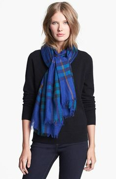 Burberry Giant Check Print Scarf - Nordstrom  For some reason, rich blues like there were hard to find together for many a year. It baffles me to this day, as I'd wear this all the time.