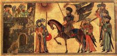 The following artwork depicts the Prophet Mohammed (riding the horse) receiving the submission of the Banu Nadir, a Jewish tribe he defeated at Medina. From the Jami'al-Tawarikh, dated 1314-15. In the Nour Foundation's Nasser D. Khalili Collection of Islamic Art, London.