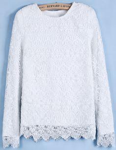 White Long Sleeve Shoulder Pads Lace Blouse S.Kr.206.91
