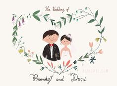Wedding, wedding portrait, custom wedding portrait illustration, art by neiko ng