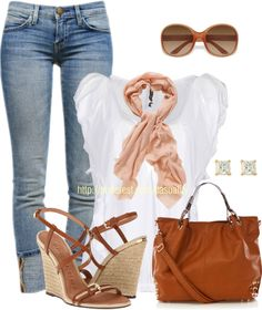 """""""Burberry Wedges & Denim Capri Jeans"""" by casuality on Polyvore"""