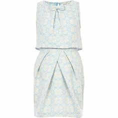 Light blue jacquard bow front tulip dress from River Island