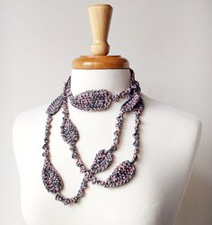 pure silk fiber necklace, charcoal grey + pink, Elena Rosenberg