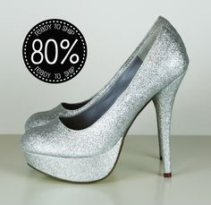 80% OFF Silver Glitter High Heels, Bridal, Prom, Sparkle PUMPS size 7 and 7.5. $25.00, via Etsy.