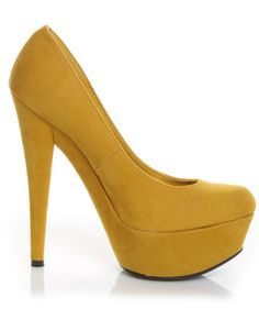 Mustard platforms for $38  #shoes