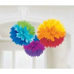 Love these cute pom poms in Kara's Party Ideas Shop. Perfect for a rainbow party, and inexpensive, too! Found here- www.KarasPartyIdeas.com/shop