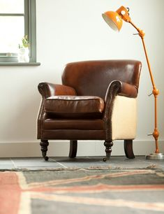 Vintage Leather and Linen Armchair. Buy online now from Rose & Grey, Eclectic Home Accessories and Stylish Furniture for vintage and modern living Small Leather Sofa, Vintage Leather Sofa, Brown Leather Chairs, Best Leather Sofa, Vintage Sofa, Leather Furniture, Vintage Furniture, Retro Armchair, Velvet Armchair