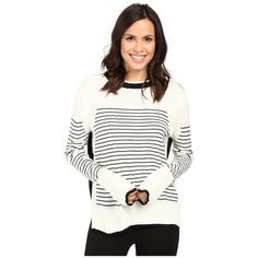 Fate Stripe Knit (Cream/Black) ($51) ❤ liked on Polyvore featuring tops, sweaters, crew neck sweaters, cream sweater, long sleeve tops, striped long sleeve top and striped crew neck sweater