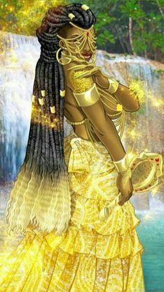 Ọ̀ṣun - Orisha who presides over love, intimacy, beauty, wealth and diplomacy Black Love Art, Black Girl Art, Art Girl, African Mythology, African Goddess, Oshun Goddess, Goddess Art, African American Art, African Art