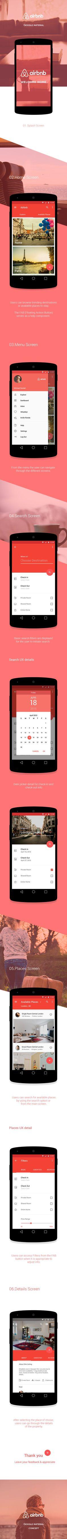 Airbnb - Google Material | Abduzeedo Design Inspiration http://abduzeedo.com/airbnb-google-material