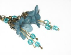 Deep Teal Earrings Teal Blue Dangle Lucite by apocketofposies, $26.00