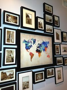 Travel wall decor world map push pin poster print art ideas nursery full . travel wall decor oil painting world map Photowall Ideas, Photo Displays, Home Projects, Sweet Home, House Design, Crafts, Travel Photos, Travel Pictures, Map Pictures
