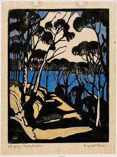 Margaret Preston, Sydney foreshore, 1925. woodcut, printed in black ink, hand coloured with gouache on thin cream laid, 24.7 x 18.7 cm. Sydney, Art Gallery of NSW.