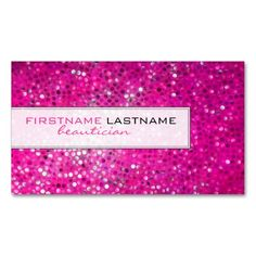 Pink Glitter Beautician Business Card Business Card. I love this design! It is available for customization or ready to buy as is. All you need is to add your business info to this template then place the order. It will ship within 24 hours. Just click the image to make your own!