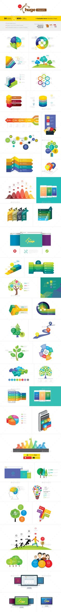 Huge - Clean & Brand Infographics Template Vector EPS, AI. Download here: http://graphicriver.net/item/huge-clean-brand-infographics/14456889?ref=ksioks
