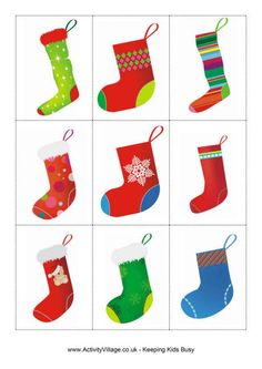 Have fun playing a Christmas memory game with our pretty Christmas stocking matching game cards! You could also use them for sorting and counting activities with younger children. Christmas Games To Play, Preschool Christmas Activities, Printable Christmas Games, Advent Activities, Christmas Themes, Christmas Crafts, Matching Games, Winter Christmas, Xmas