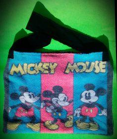 handbags, art, paintings,side bags, upcycled, fashion, barbie #MickeyMouse #Upcycled #ToteBag by #LarissaMyrie on #Etsy #raverfashion #festivalfashion #harajukufashion #edmfashion #bassheadfashion